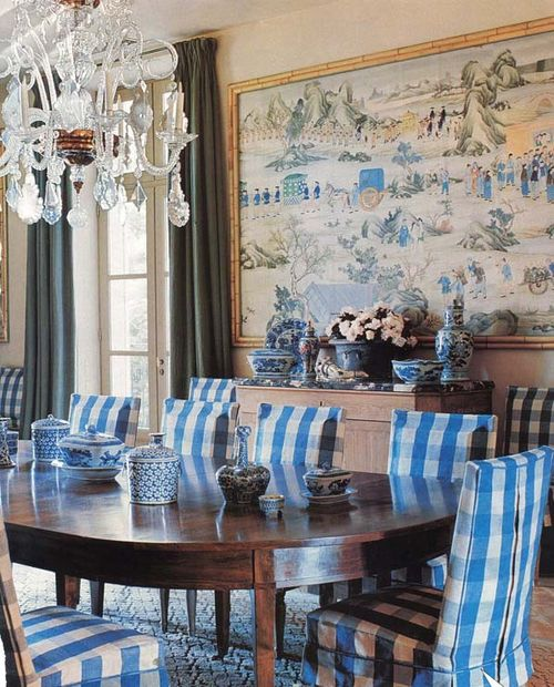 Bunny-williams-blue check dining room