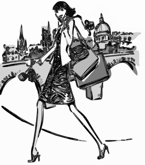 Woman with bags illustration - Copy