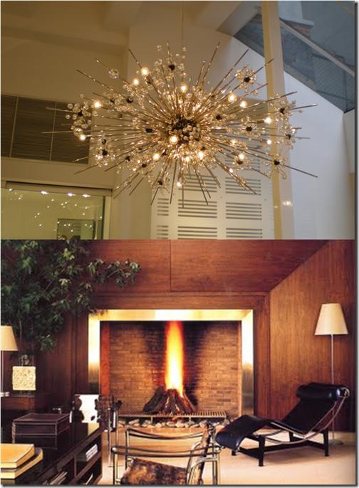 chandelier & fireplace